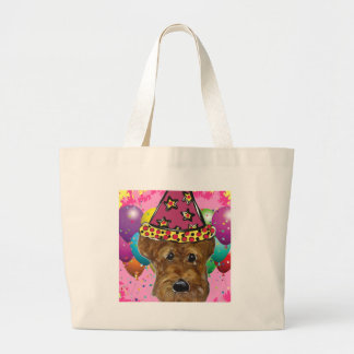 Airedale Party Dog Large Tote Bag