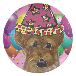 Airedale Party Dog Plate