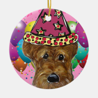 Airedale Party Dog Round Ceramic Ornament