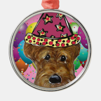 Airedale Party Dog Silver-Colored Round Ornament