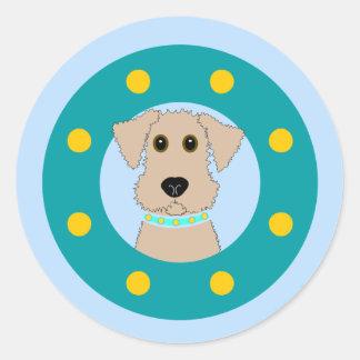 Airedale Puppy Classic Round Sticker