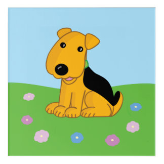 Airedale Puppy Dog in Flowers Acrylic Wall Art