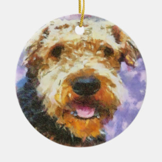 Airedale Round Ceramic Ornament