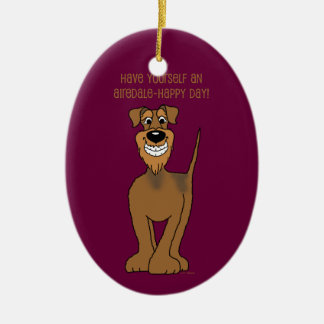 Airedale Smile Ceramic Ornament