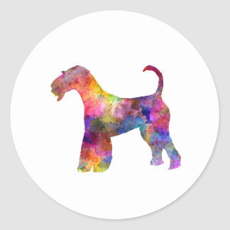 Airedale Terrier 01 in watercolor 2 Classic Round Sticker