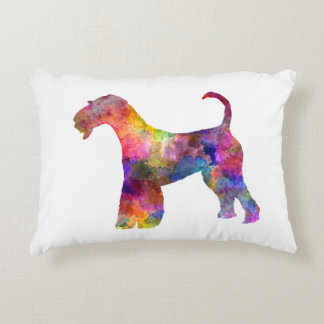 Airedale Terrier 01 in watercolor 2 Decorative Pillow