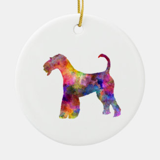 Airedale Terrier 01 in watercolor 2 Round Ceramic Ornament