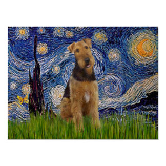 Airedale Terrier (#1) - Starry Night Poster