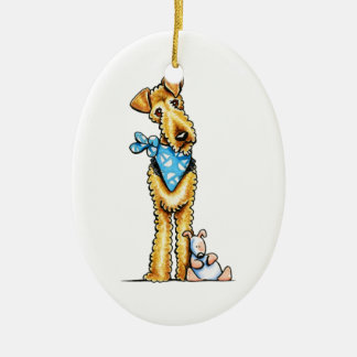 Airedale Terrier and Puppy Ceramic Oval Ornament