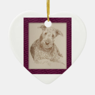 Airedale Terrier art drawn from only words Ceramic Heart Ornament