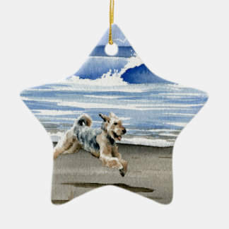 Airedale Terrier At The Beach Ceramic Star Ornament