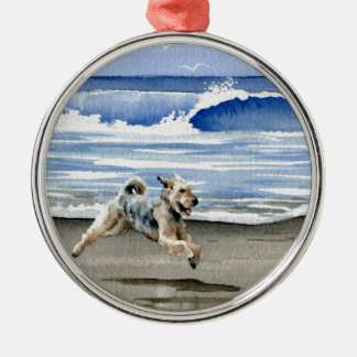 Airedale Terrier At The Beach Silver-Colored Round Ornament