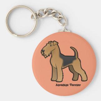 airedale terrier basic round button keychain