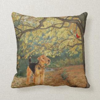 Airedale Terrier Birdwatching Throw Pillow