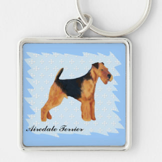 Airedale Terrier ~ Blue w/ White Diamonds Design Silver-Colored Square Keychain