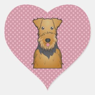 Airedale Terrier Cartoon Heart Sticker