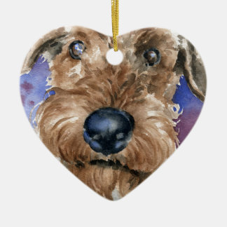 Airedale Terrier Ceramic Heart Ornament