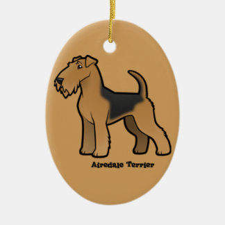 airedale terrier ceramic oval ornament