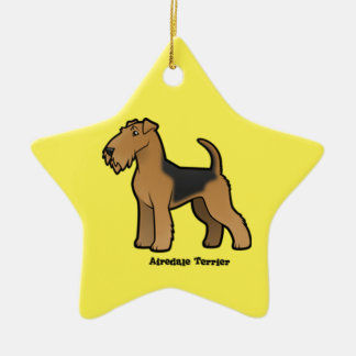 airedale terrier ceramic star ornament