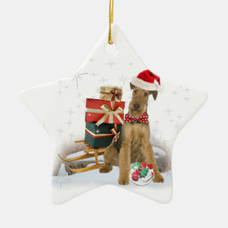 Airedale Terrier Christmas Ceramic Star Ornament