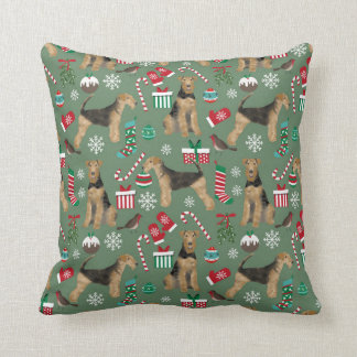 airedale terrier christmas dog pillow