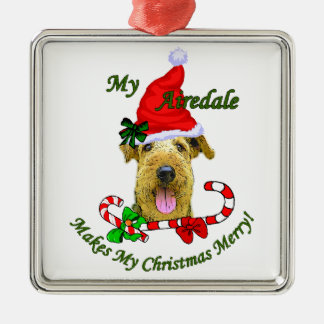 Airedale Terrier Christmas Gifts Silver-Colored Square Ornament