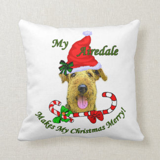 Airedale Terrier Christmas Merry Throw Pillow