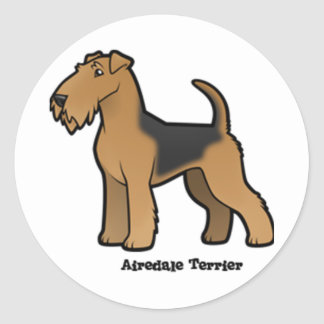 airedale terrier classic round sticker