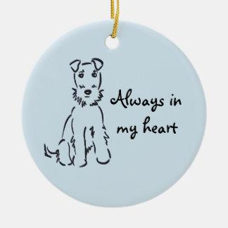 Airedale Terrier Customizable Dog Memory Keepsake Round Ceramic Ornament