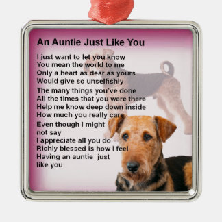 Airedale Terrier Design -  Auntie poem Metal Ornament