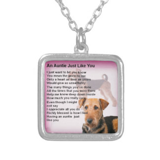 Airedale Terrier Design -  Auntie poem Silver Plated Necklace
