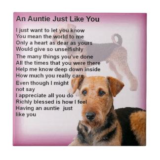 Airedale Terrier Design -  Auntie poem Tile