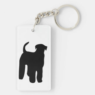Airedale Terrier dog black silhouette, gift Double-Sided Rectangular Acrylic Keychain