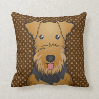 Airedale Terrier Dog Cartoon Paws Throw Pillow