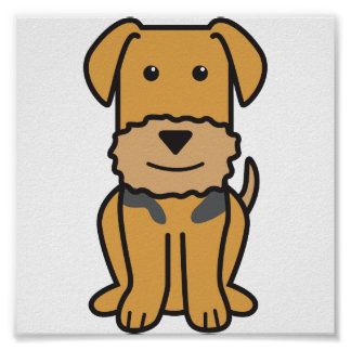Airedale Terrier Dog Cartoon Poster