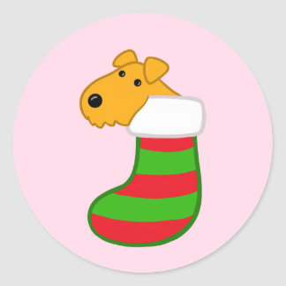 Airedale Terrier Dog in Christmas Stocking Sticker