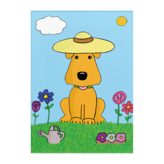 Airedale Terrier Dog in Garden Acrylic Wall Art