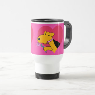 Airedale Terrier Dog Valentine's Day Travel Mug