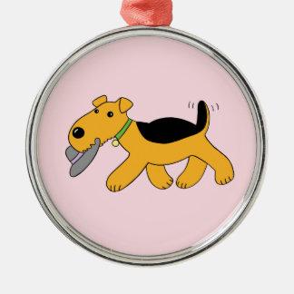 Airedale Terrier Dog w Hat Premium Ornament