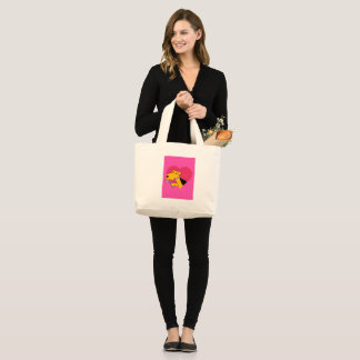 Airedale Terrier Dog w Rose & Heart Jumbo Totebag Large Tote Bag