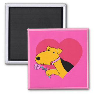 Airedale Terrier Dog w Rose Valentine Magnet