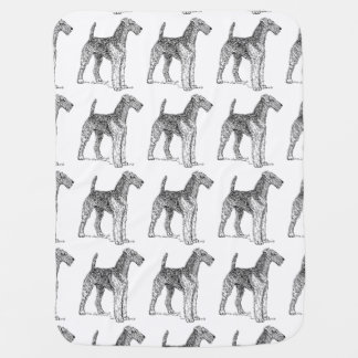 Airedale Terrier Elegant Dog Drawing Receiving Blanket
