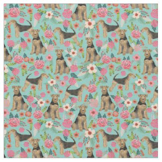Airedale Terrier floral dog fabric - mint