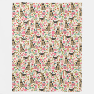 Airedale Terrier Floral print blanket