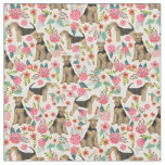 Airedale Terrier floral print fabric