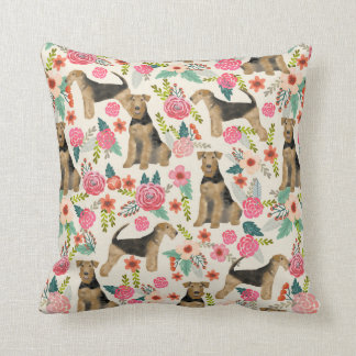 Airedale Terrier Floral print pillow