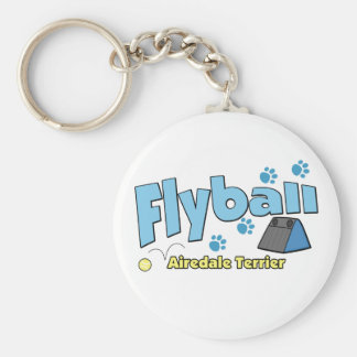 Airedale Terrier Flyball Basic Round Button Keychain