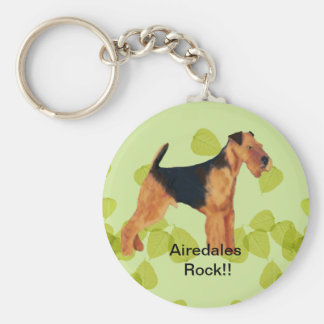 Airedale Terrier ~ Green Leaves Design Basic Round Button Keychain