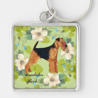 Airedale Terrier ~ Green Leaves Design Silver-Colored Square Keychain