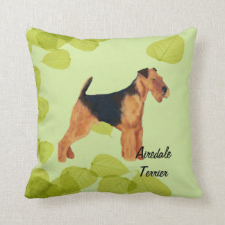 Airedale Terrier ~ Green Leaves Design Throw Pillow